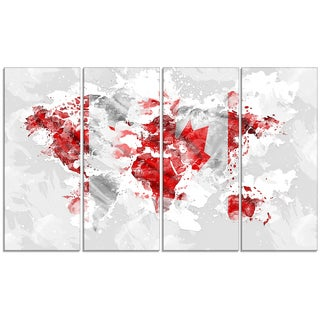 Design Art 'Canadian Flag' 48 x 24-inch 4-panel Grey Map Canvas Art Print