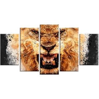 Design Art 'Be Fierce' 60 x 32-inch 5-panel Lion Canvas Art Print