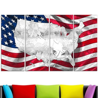 Design Art 'Map and Flag of America' 48 x 28-inch 4-panel Canvas Art Print