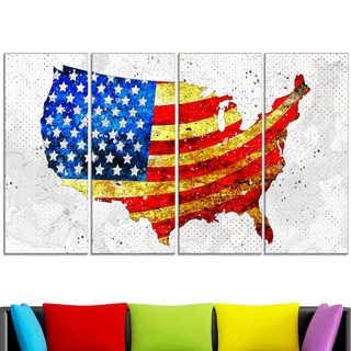 Design Art 'USA Flag on the Map' 48 x 28-inch 4-panel Canvas Art Print