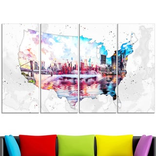 Design Art 'City Sunset on the Map' 48 x 28-inch 4-panel Canvas Art Print