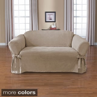 CoverWorks Sienna Suede 1-Piece Relaxed Fit Loveseat Slipcover with Ties
