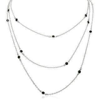 Gioelli Sterling Silver Multi-strand Sapphire Station Necklace