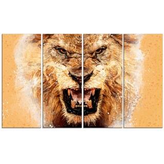 Design Art 'No Fear Ferocious Lion' 48 x 28-inch 4-panel Canvas Art Print
