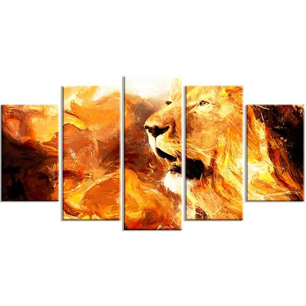 Design Art 'Roar in the Wild' 60 x 32-inch 5-panel Lion Canvas Art Print