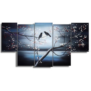 Design Art 'Together Forever' 60 x 32-inch 5-panel Birds Canvas Art Print