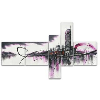 Design Art 'Modern Purple Cityscape' 66 x 36-inch 5-panel Canvas Art Print
