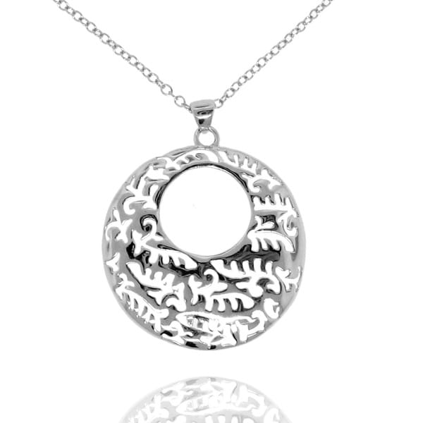 Gioelli Sterling Silver Circle Abstract Cut-out Necklace