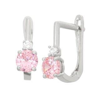 Junior Jewels Children's Sterling Silver Pink Hoop Earrings