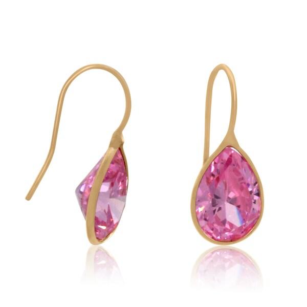 14k Gold Pink Cubic Zirconia Oval Dangle Earrings