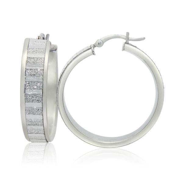 Gioelli Sterling Silver Alternating Satin and Glitter Hoop Earrings