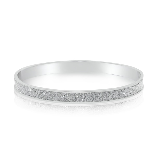 Gioelli Glamorous Sterling Silver Glitter Bangle