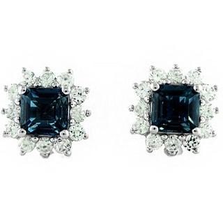 Sterling Silver 4 5/8ct London Topaz Stud Earrings