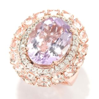 Sterling Silver 11 1/5ct Oval Pink Amethyst Morganite and White Zircon Ring