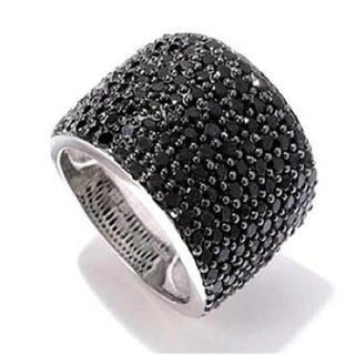 Sterling Silver 4 1/10ct Black Spinel Cluster Band
