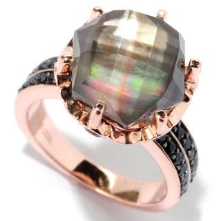Gold over Silver Mother of Pearl Doublet Amethyst and Black Spinel Crown Ring