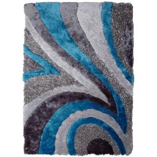 Rug Addiction Shag Area Rug Hand Tufted with Grey, Silver, Blue (5'x7')