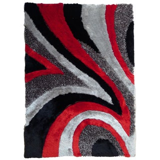 Rug Addiction Shag Area Rug Hand Tufted with Black, Grey, Red (5'x7')