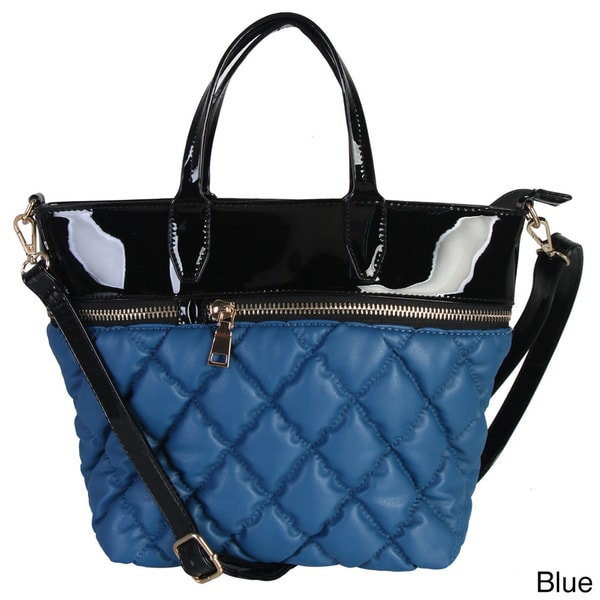Diophy Shiny Patent Leather Quilted Zippered Tote