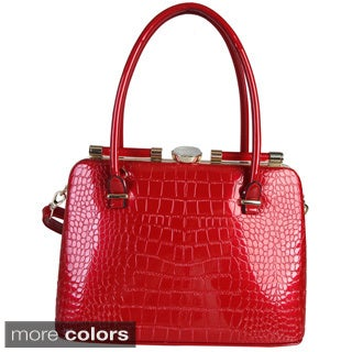Rimen and Co. Shiny Patent Leather Crocodile Texture Ornament Handbag