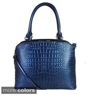 Rimen and Co. Patent Leather Crocodile Texture Snap Lock Handbag