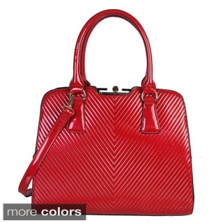 Rimen and Co. Patent Leather Shiny Color Textured Double Handle Satchel Handbag