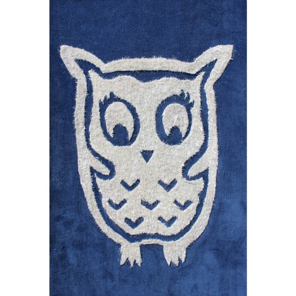 Rug Addiction 4' X 6' Kids Area Rug Hand Tufted with Blue/Back Ground and White Owl
