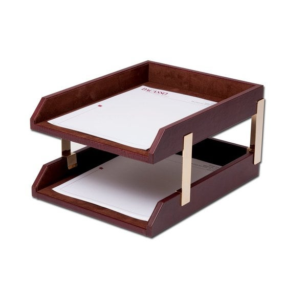 Mocha Leather Double Letter Trays