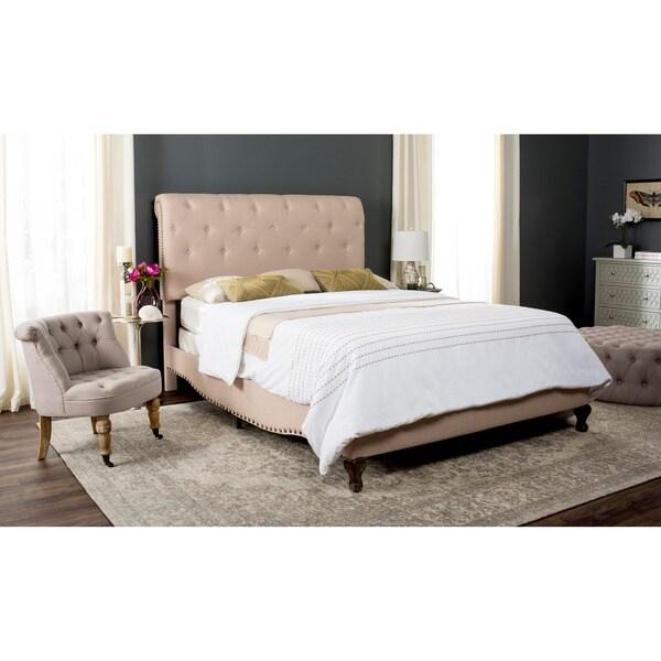 Safavieh Hathaway Light Beige Linen Upholstered Tufted Rolled Back Bed