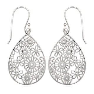 La Preciosa Sterling Silver Floral Large Teardrop Earrings