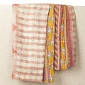 One-of-a-Kind Machine-Woven, Hand-Stiched Kantha Blanket