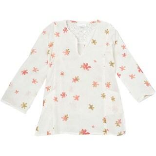 KC Signatures Girls' Eva Floral Crochet Cotton 3/4 Length V-neck Top