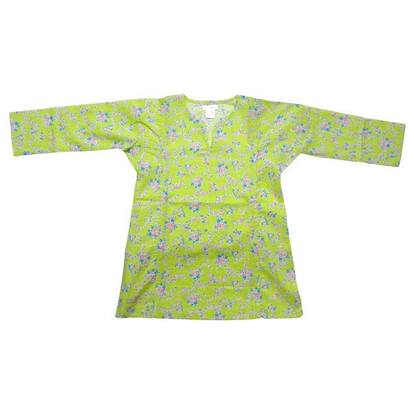 KC Signatures Girls' Gabriela's Green Pattern Cotton 3/4 Length V-neck Top