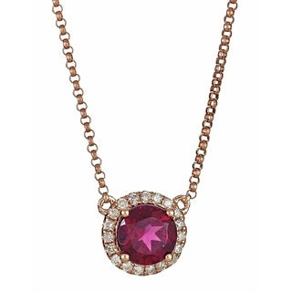 Anika and August 14k Rose Gold Round-cut Rhodolite and 1/6ct TDW Diamond Pendant (G-H, I1-I2)