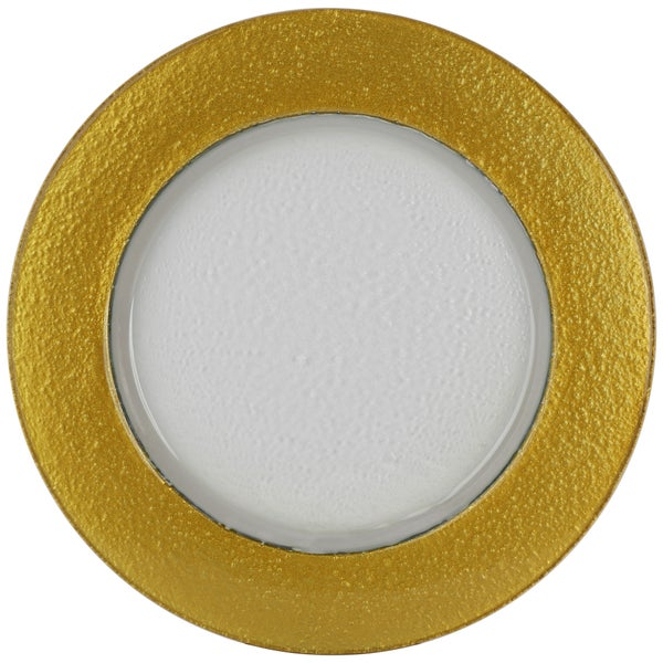 Halo Clear Glass Mayan Gold Rime Charger Plate
