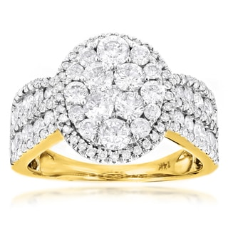 Luxurman 14k Yellow Gold 2 3/5ct TDW Diamond Engagement Ring (G-H, VS1-VS2)