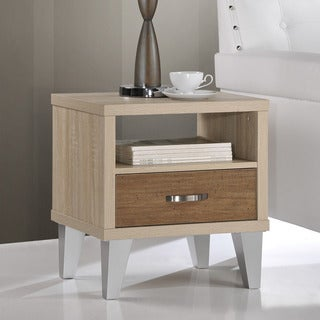 Ozzy White Oak/ Brown Accent Table