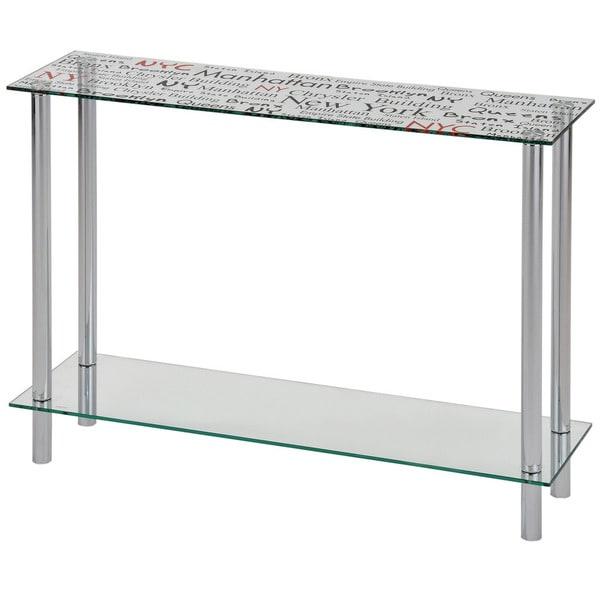 Soho Printed NYC Glass/ Chrome Console Table