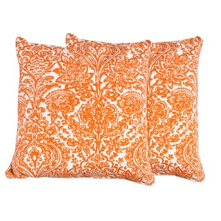 Decorative Floral Damask Orange and Off White 18-inch Set of 2 Accent Pillow