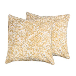 Decorative Floral Damask 18-inch Throw Pillow in Saffron Yellow (Set of 2)