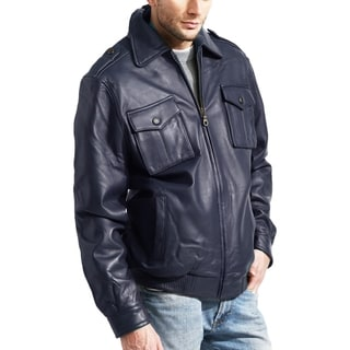 Men's Navy Lambskin Leather Bomber Jacket