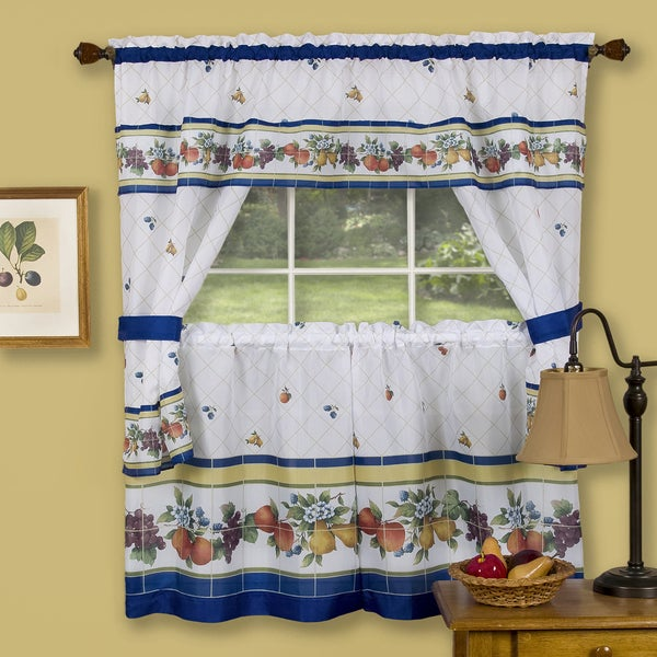 Complete Cottage Curtain Set with Colorful Tile Fruit Print