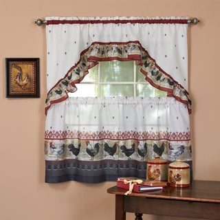 Traditional Two-piece Tailored Tier and Swag Window Curtains Set with Ornate Rooster Print