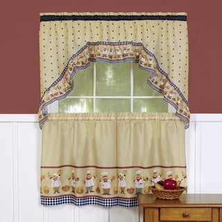 Traditional Two-piece Tailored Tier and Swag Window Curtains Set with Happy Chef Print