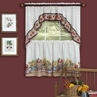 Traditional Two-piece Tailored Tier and Swag Window Curtains Set with Colorful Marketplace Vegetable and Sunflower Print