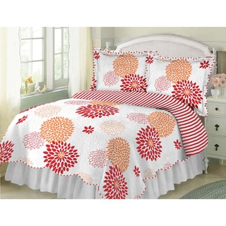 Floral Bloom Orange and Raspberry Quilt (Shams sold separately)