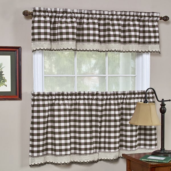 Classic Buffalo Check Kitchen Chocolate/ White Curtain Set or Separates
