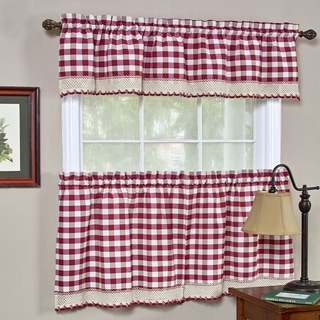 Classic Buffalo Check Kitchen Burgundy and White Curtain Set or Separates
