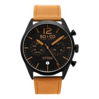 SO&CO New York Men's Monticello Quartz Leather Strap Watch