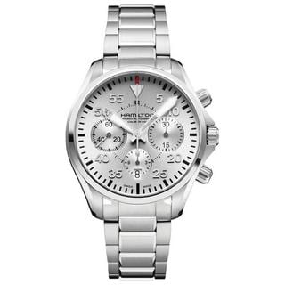 Hamilton Men's H64666155 Khaki Pilot Automatic Chronograph Silver-tone Stainless Steel Watch 42mm